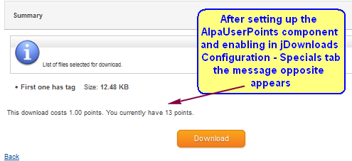 Using AltaUserPoints/Alphauserpoints in jDownloads
