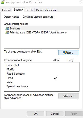 access denied create file error02