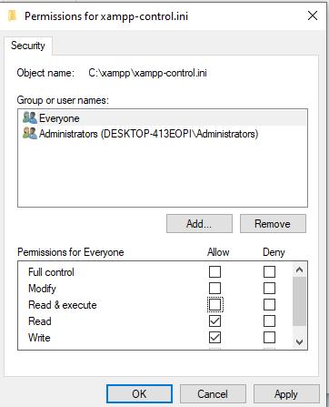 access denied create file error01